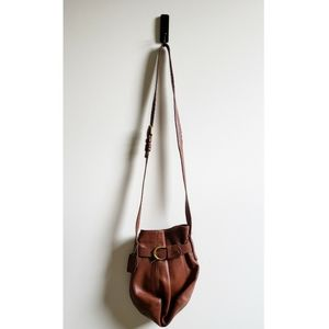 Brown Leather Coach Bag with Gold Buckle